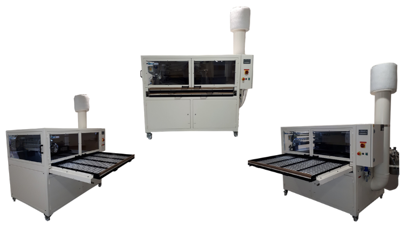Poste d'encollage à plat double plateaux SA 157 ASP pour l'encollage et le séchage en automatique des nouvelles générations de colles aqueuses